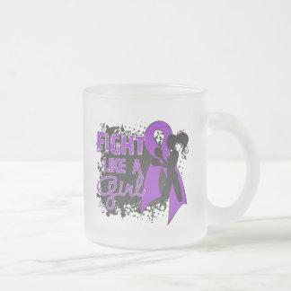 Fibromyalgia Fight Like A Girl Grunge 10 Oz Frosted Glass Coffee Mug
