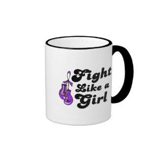 Fibromyalgia Fight Like A Girl Motto Ringer Coffee Mug