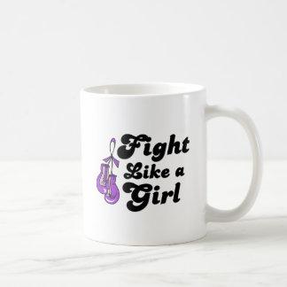 Fibromyalgia Fight Like A Girl Motto Classic White Coffee Mug