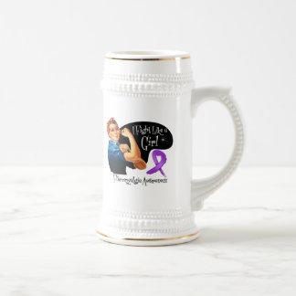 Fibromyalgia Fight Like a Girl Rosie The Riveter Mugs