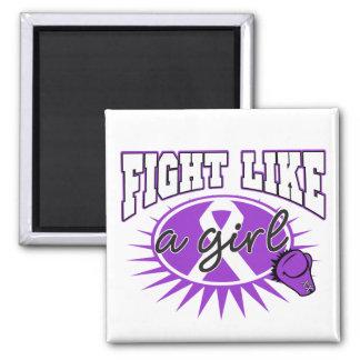 Fibromyalgia Fight Like A Girl Sporty Callout Fridge Magnet