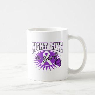 Fibromyalgia Fight Like A Girl Sporty Callout Classic White Coffee Mug