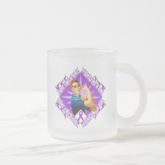 Fibromyalgia Fight Rosie The Riveter 10 Oz Frosted Glass Coffee Mug