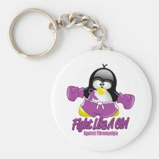 Fibromyalgia Fighting Penguin Keychain