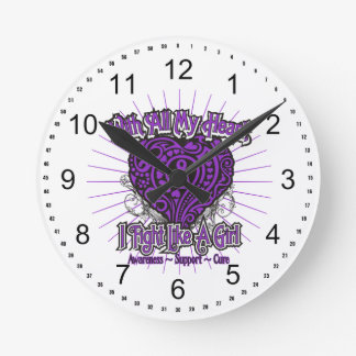Fibromyalgia Heart I Fight Like A Girl Wall Clock