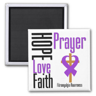 Fibromyalgia Hope Love Faith Prayer Cross 2 Inch Square Magnet