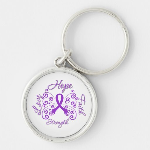 Fibromyalgia Hope Motto Butterfly Key Chain