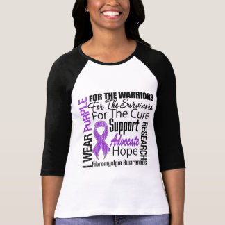 Fibromyalgia I Wear Purple Ribbon Tee Shirts