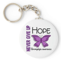 Fibromyalgia Never Give Up Hope Butterfly 4.1 Keychain