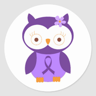 Fibromyalgia Owl Classic Round Sticker