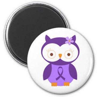 Fibromyalgia Owl 2 Inch Round Magnet