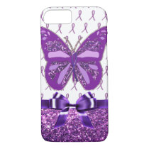 Fibromyalgia Purple Awareness Butterfly Ribbon iPhone 7 Case