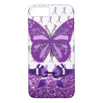 Fibromyalgia Purple Awareness Butterfly Ribbon iPhone 7 Case