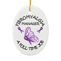 Fibromyalgia Purple Awareness Butterfly Ribbons Ceramic Ornament