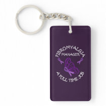 Fibromyalgia Purple Awareness Butterfly Ribbons Keychain