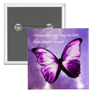 Fibromyalgia Purple Butterfly Square Button