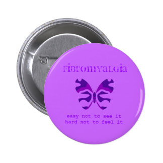 Fibromyalgia Purple Camouflage Butterfly Button