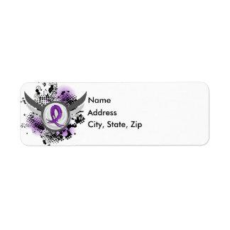 Fibromyalgia púrpura de la cinta y de las alas etiqueta de remitente
