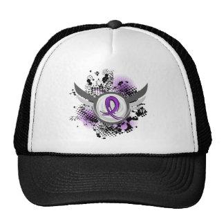 Fibromyalgia púrpura de la cinta y de las alas gorro de camionero