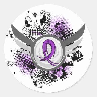 Fibromyalgia púrpura de la cinta y de las alas etiqueta redonda