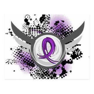 Fibromyalgia púrpura de la cinta y de las alas postal