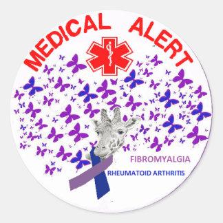 Fibromyalgia  Rheumatoid Arthritus Medical Alert Classic Round Sticker