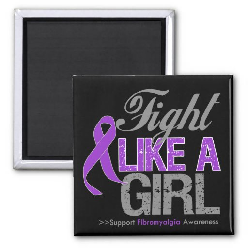 Fibromyalgia Ribbon - Fight Like a Girl Magnets