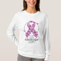Fibromyalgia Ribbon of Butterflies T-Shirt