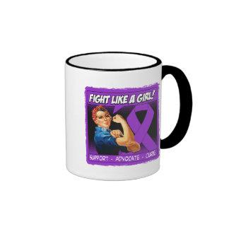 Fibromyalgia Rosie Riveter - Fight Like a Girl Ringer Coffee Mug