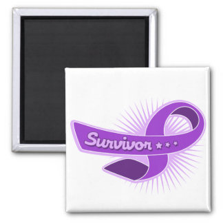 Fibromyalgia Survivor Ribbon 2 Inch Square Magnet