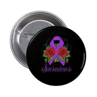 Fibromyalgia Survivor Rose Grunge Tattoo Pinback Button