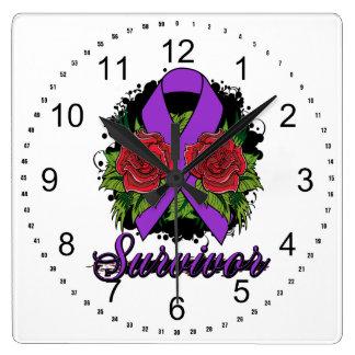 Fibromyalgia Survivor Rose Grunge Tattoo Square Wall Clocks