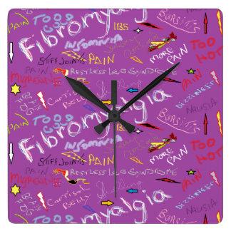 Fibromyalgia Symptoms Square Wall Clocks