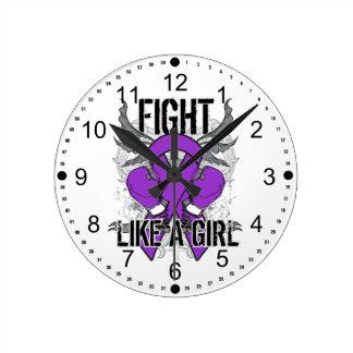 Fibromyalgia Ultra Fight Like A Girl Round Wallclocks