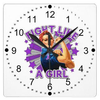 Fibromyalgia Vintage Rosie Fight Like A Girl Clock