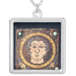 Fibula with the face of a young man square pendant necklace