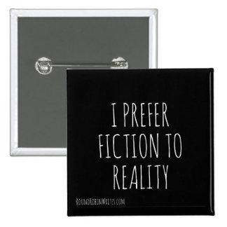 Ficción sobre la realidad (botón) pin cuadrado