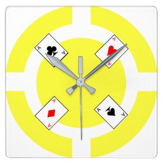 Ficha de póker - amarillo reloj cuadrado