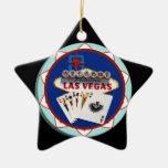 Ficha de póker azul del signo positivo de Las Vega Ornamente De Reyes