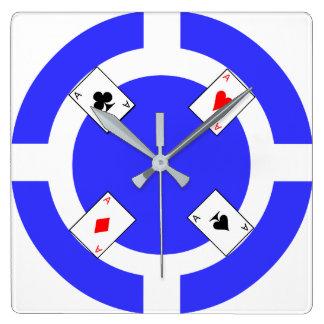 Ficha de póker - azul reloj cuadrado