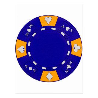 Ficha de póker azul postal