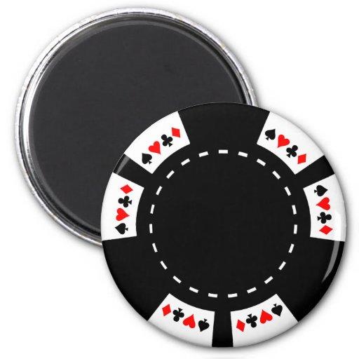 Ficha de póker blanco y negro imán redondo 5 cm