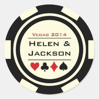 Ficha de póker blanco y negro etiqueta redonda