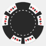 Ficha de póker blanco y negro pegatinas redondas