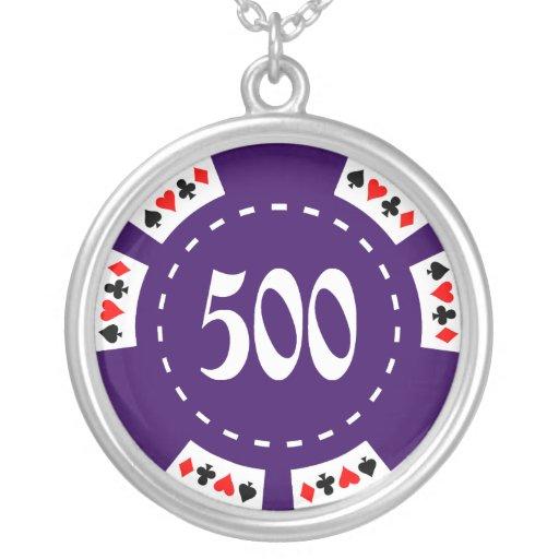 Ficha de póker de 500 dólares colgante redondo