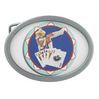Ficha de póker de Gultch Sally del brillo Hebilla De Cinturón Oval