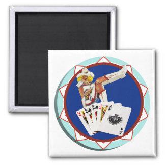 Ficha de póker de Gultch Sally del brillo Imán Cuadrado