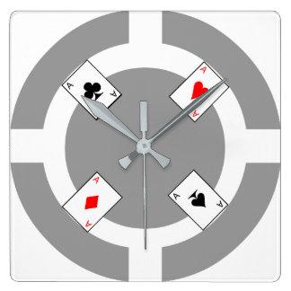 Ficha de póker - gris reloj cuadrado