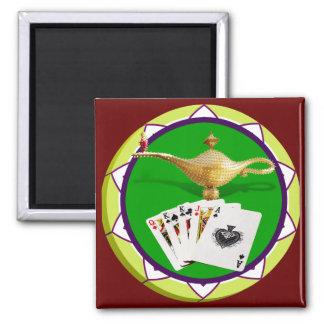 Ficha de póker mágica de la lámpara de Las Vegas Imán Cuadrado
