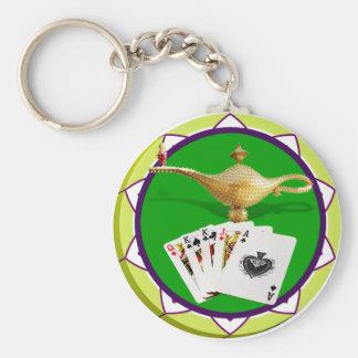 Ficha de póker mágica de la lámpara de Las Vegas Llavero Redondo Tipo Pin